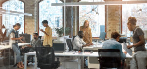 Group of people working in trendy office